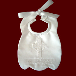 Click to Enlarge Picture - Irish Linen Christening Bib With Celtic Cross