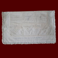 Click to Enlarge Picture - Heirloom Christening Quilt with Embroidered Hail Mary & Crosses