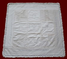 Click to Enlarge Picture - Boys Heirloom Christening Quilt with Embroidered Hail Mary & Crosses