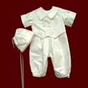 Click to Enlarge Picture - Boys Silk Christening Romper with Vest
