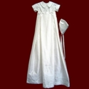 Click to Enlarge Picture - Boys Silk Christening Romper With Detachable Gown and Accessories