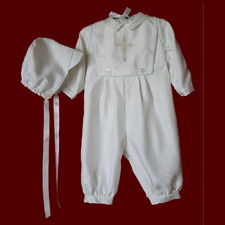 Click to Enlarge Picture - Boys Christening Romper with Detachable Embroidered Bib and Hat