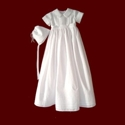 Click to Enlarge Picture - Boys Linen Batiste Christening Romper with Detachable Gown & Hat