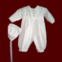 Click to Enlarge Picture - Heirloom Boys Christening Romper & Hat