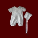 Click to Enlarge Picture - Boys Christening Romper with Detachable Bib & Hat