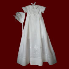Click to Enlarge Picture - Boys Irish Linen Christening Romper with Detachable Gown