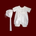 Click to Enlarge Picture - Boys Silk Christening Romper with Hat