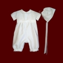 Click to Enlarge Picture - Shantung Boys Christening Romper & Hat
