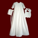 Click to Enlarge Picture - Linen Batiste Boys Christening Gown, Slip & Hat
