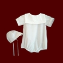 Click to Enlarge Picture - Cotton Batiste Boys Christening Romper with Embroidered Collar & Hat