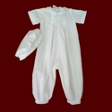 Click to Enlarge Picture - Smocked Cross Boys Christening Romper with Hat