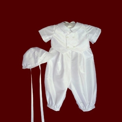 Click to Enlarge Picture - Silk Boys Romper with Pintucked Vest & Hat