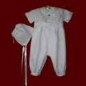 Click to Enlarge Picture - Boys Christening Romper & Hat
