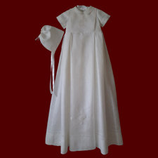 Click to Enlarge Picture - Irish Linen Boys Christening Gown With Detachable Bib & Hat