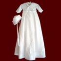 Click to Enlarge Picture - Shantung Sailor Christening Romper With Detachable Gown & Hat