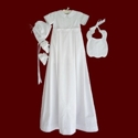 Click to Enlarge Picture - Boys Cotton Christening Romper With Detachable Gown & Accessories