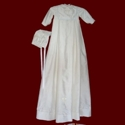 Click to Enlarge Picture - Embroidered Cross Boys Christening Gown, Detachable Bib & Hat