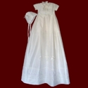 Click to Enlarge Picture - Silk Christening Romper With Detachable Gown, Bib & Hat