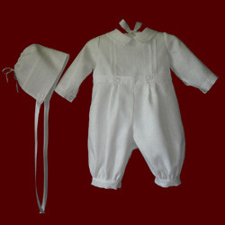 Click to Enlarge Picture - Hemstitched Boys Christening Romper & Hat