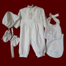 Click to Enlarge Picture - Ivory Shantung Boys Christening Romper With Detachable Bib & Accessories