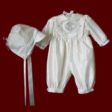 Click to Enlarge Picture - Boys Silk Christening Romper With Monogrammed Bib & Hat