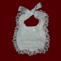 Scalloped Organza Lace Girls Christening Bib