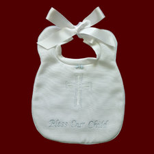 Click to Enlarge Picture - Embroidered Cross Christening Bib