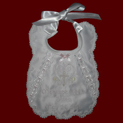 Click to Enlarge Picture - Girls Scalloped Personalized Christening Bib
