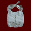 Click to Enlarge Picture - Keepsake Christening Bib With Gold or Silver Accents