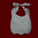 Click to Enlarge Picture - Monogrammed Christening Bib With Optional Shamrocks