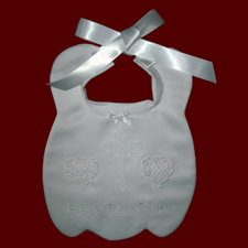 Click to Enlarge Picture - Christening Bib with Swiss Cross & Heart Appliques