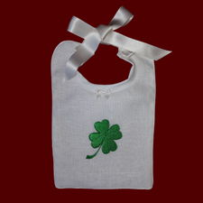 Click to Enlarge Picture - Shamrock Embroidered Christening Bib